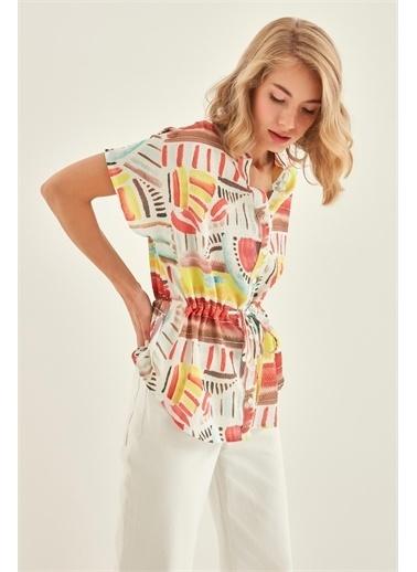 Vitrin VİTRİN Fırça Desenli Belden Bağcıklı Bluz Renkli
